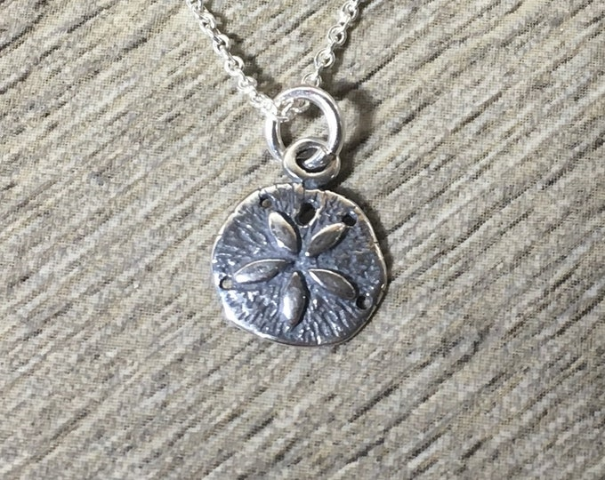 Dainty Sand Dollar Charm Necklace, .925 Sterling Silver Oxidized Pendant, Beach Charm, Minimalist, Petite