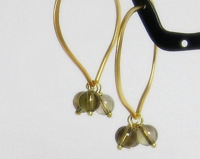 Smoky Quartz Hoop Earrings, 24K Gold Vermeil Gemstone Hoops, Everyday Hoops, Medium or Large