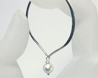 Sterling Silver Pearl Hoop Earwires, White Pearl Lotus Petal Hoop Earrings, Swarovski Crystal Large Hoops, Everyday Hoops