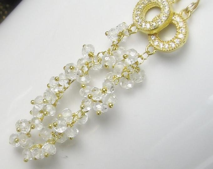 white topaz and quartz crystal cascading gemstone dangle earrings, gold, hand linked, bridal earrings, pave
