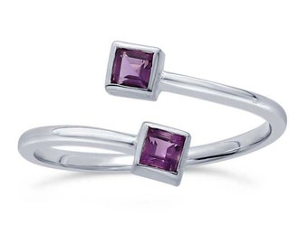 Amethyst Ring Wrap Ring, February Birthstone, Amethyst Bypass Ring, .925 Sterling Silver, Two Stone Ring