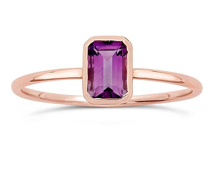 Amethyst Emerald Cut 14K Rose Gold Stacking Ring, February Birthstone