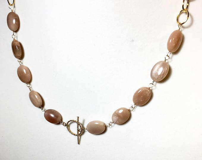 Sunstone Gold Fill Statement Necklace, Oval Gemstone Front Toggle Clasp Closure, Wire Wrapped Gold Links, Gifts for Her, Neutral Color, OOAK