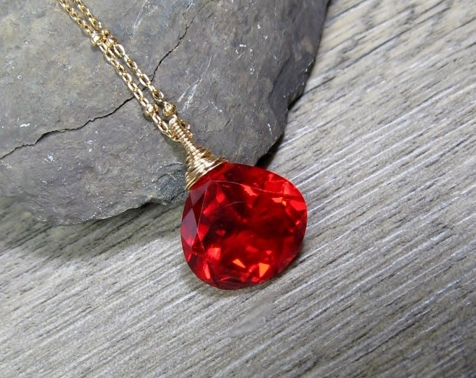 """Red Quartz Necklace, Layering Solitaire Pendant, Wire Wrapped Gemstone, Gold Fill Necklace, Gift for Her, Length 20"""""""