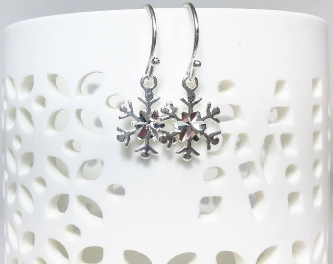 Petite Snowflake Earrings, Sterling Silver Petite Dangles, Snowflake Charms, Snowflakes and Icicles