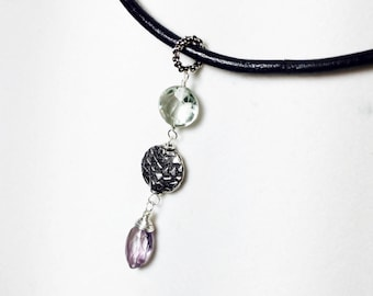 Leather Cord Choker, Amethyst Green Quart Pendant, Sterling Silver, Boho Gemstone Necklace, Gift for Her