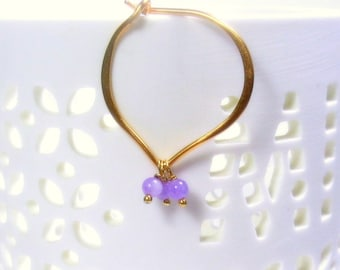 Gold Hoop Earrings, Lavender Jade Hoops, 24K Gold Vermeil, medium or large size
