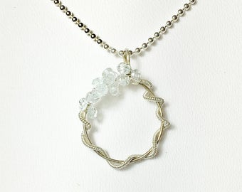 Aquamarine Silver Necklace, GemstonePendant, Sterling Silver Gemstone Necklace, Gifts for Her