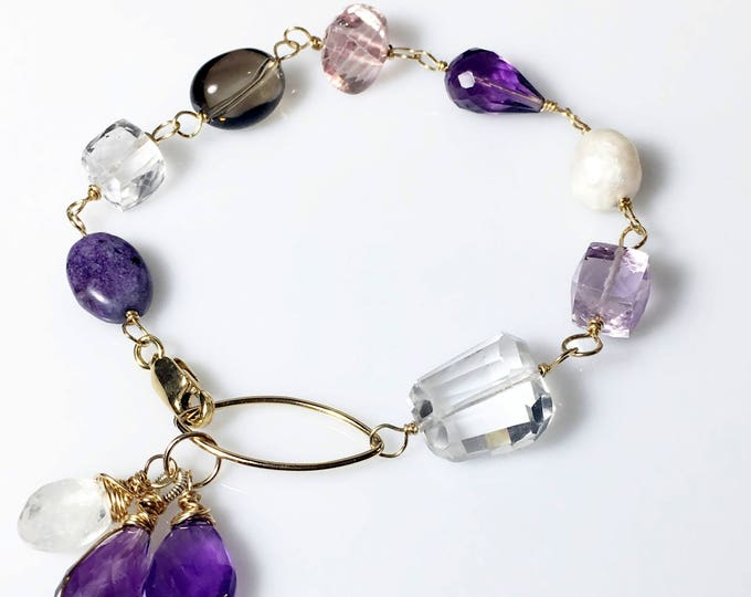 Amethyst Quartz Moonstone Mixed Gemstone Bracelet, Gold Wire Wrapped, Gifts for Her