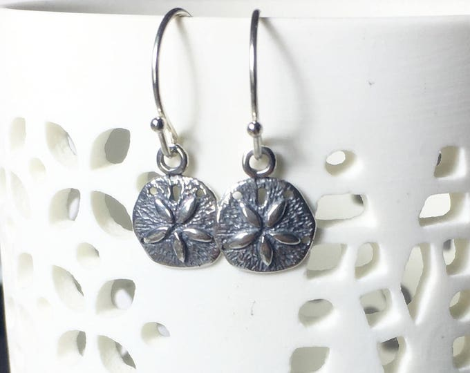 Sand Dollar Charm Earrings, .925 Sterling Silver, Beach Jewelry