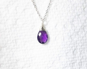 Amethyst Solitaire Necklace, February Birthstone, Sterling Silver Wire Wrapped Gemstone Pendant
