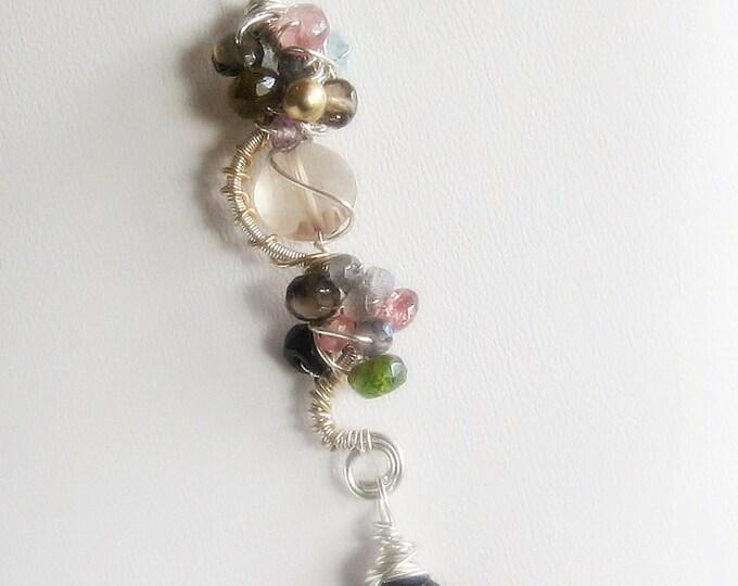 Gemstone Statement Necklace, spinel, tourmaline, citrine, sterling pendant