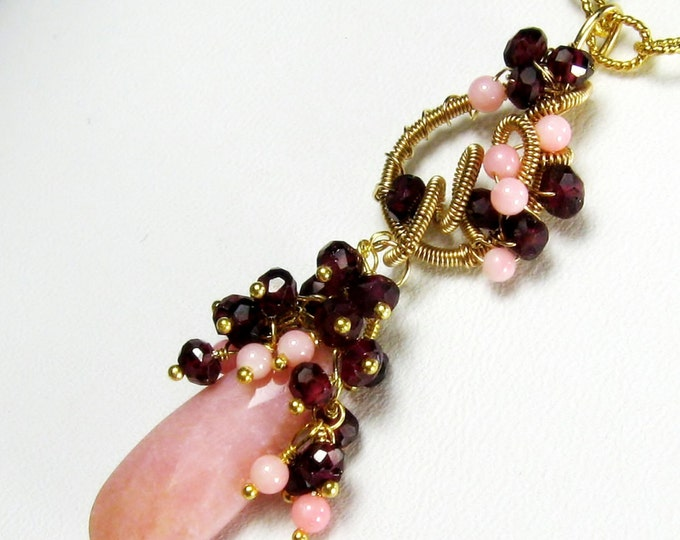 Peruvian Opal Garnet Gold Statement Necklace