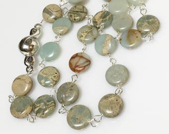 Jasper Necklace, Boho Gemstone Choker, Sterling Silver Necklace, Sterling Magnetic Flower Clasp, Hand Linked, Statement Necklace,Front Close