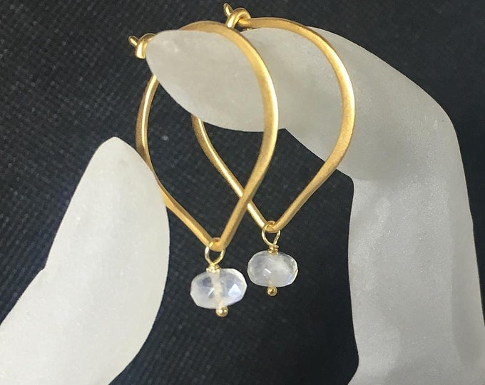 "Moonstone Earrings, Gold Vermeil Lotus Petal 1"" Hoop Ear Wires, Matte Finish"