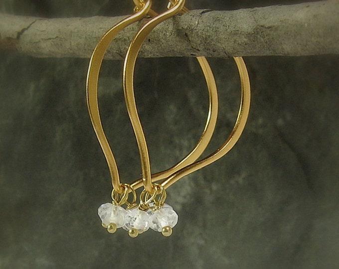 White Topaz Hoops, Gemstone Hoop Earrings, Lotus Vermeil Hoop Earrings, Bridal, Gift for Her, MiShelli