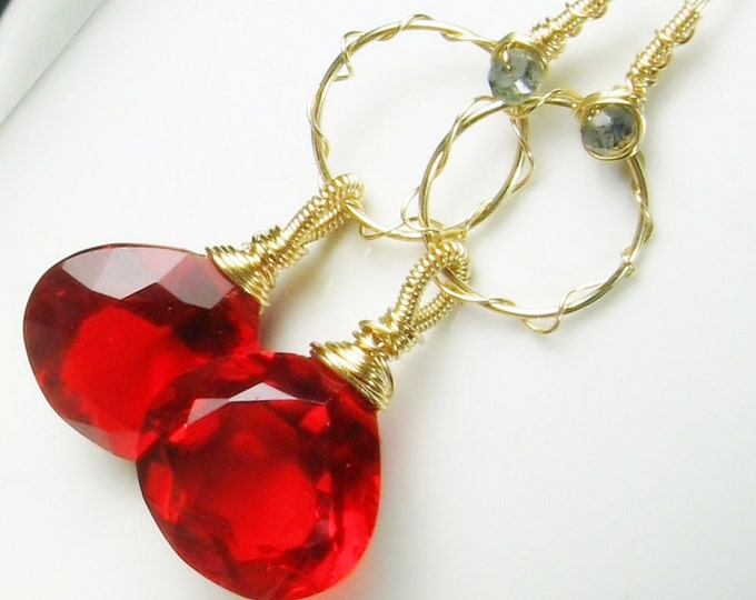 Red Quartz Chandelier Gold Earrings