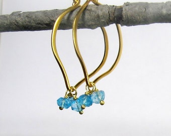 Topaz Hoops, Gold Earrings, Large or Medium Hoops, 24k gold Vermeil, Blue Topaz genuine gemstones, brushed finish, Ready to Ship