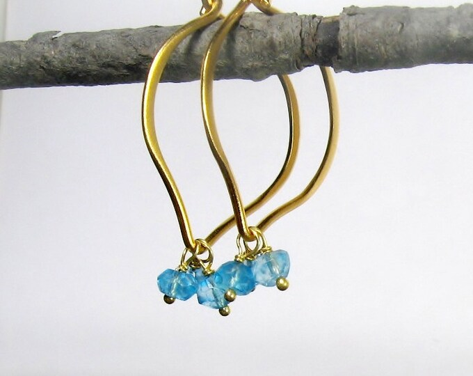 Blue Topaz Hoop Earrings,  medium size, gold Vermeil, genuine gemstones, brushed finish, Ready to Ship