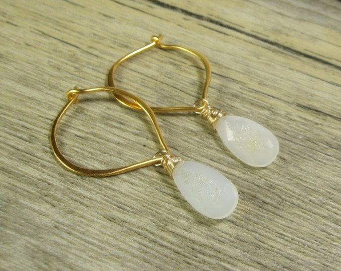 Gold Hoops, White Druzy Gold 24K gold Vermeil Gemstone Hoop Earrings, Brushed finish