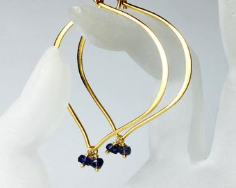 Iolite Gemstone Hoops, Gold Lotus Earrings, Vermeil, Medium or Large