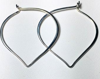 Large Sterling Silver Lotus Petal Hoop Ear Wires, Gifts for Her, .925 Silver Hoop Earrings, Heart Ear Wires, 41mm