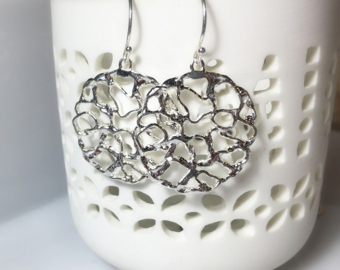 Circle Drop Earrings, Sterling Silver Scattered Branch Dangles