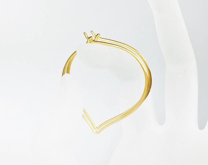 Large Gold Hoops, 24K Gold Vermeil Earrings, Medium or Large Ear Wires, Gifts for Her