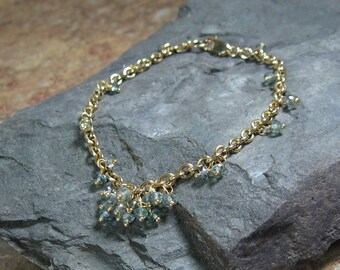 Green Quartz Gold Cluster Bracelet