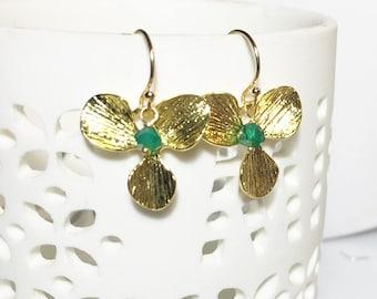 Green Onyx Gold Earrings, Orchid Leaf, Onyx Drop Earrings, Boho, Gifts for Her, Flower Dangles, Gemstone Earrings