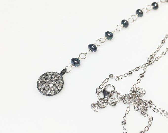 Diamond Pendant with Pearls in Sterling Silver Necklace, Gifts for Her, Cultured Freshwater Pearl Necklace, Pave Diamonds