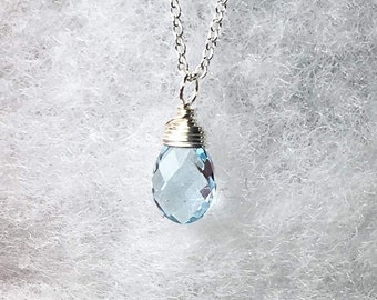 Blue Topaz Necklace, Sterling Silver, Sky Blue Topaz Gemstone Pendant