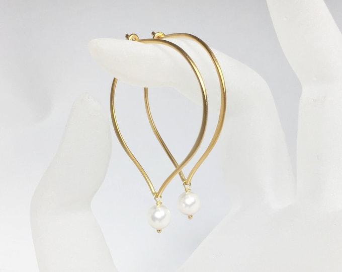 Featured listing image: White Pearl Hoop Earrings, Vermeil or Sterling Silver Medium or Large Hoop Ear Wires, Gifts for Her, Bridal Earrings