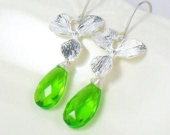 Neon Green Quartz Orchid Sterling Dangle Earrings