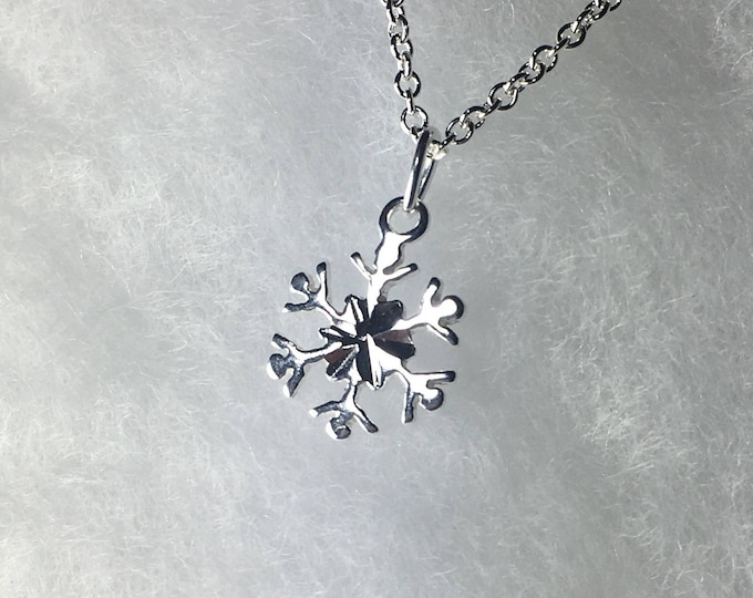 Petite Snowflake Necklace, .925 Sterling Silver Pendant, Gifts for Her, Winter Wonderland, Minimalist