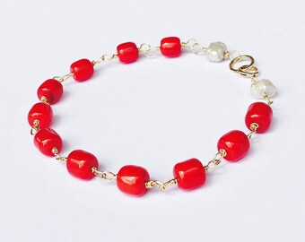 Coral Bracelet SOLID 14K Gold, Red Coral, Freshwater Pearls, Wire Wrapped, Summer Accessory