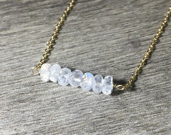 "Moonstone Bar Necklace, Gold Fill, Gemstone Bar Pendant Necklace, Length 18.5"", Moonstone Jewelry"