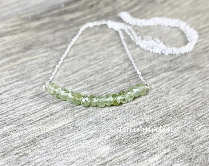 Green Tourmaline Bar Necklace, Layering Necklace, Gifts for Her, Chakra Gemstones, Healing Energies