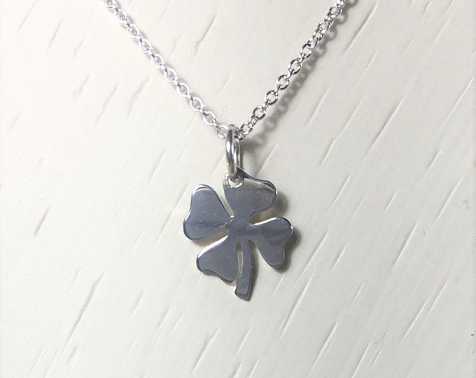 Silver Four Leaf Clover Floating Charm Necklace,  .925 Sterling Silver Pendant