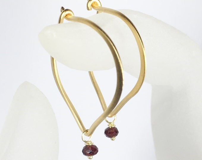 Garnet Hoop Earrings, Lotus Petal Ear Wires, Gold Vermeil, January Birthstone, Gifts for Her, Garnet Gemstone Earrings