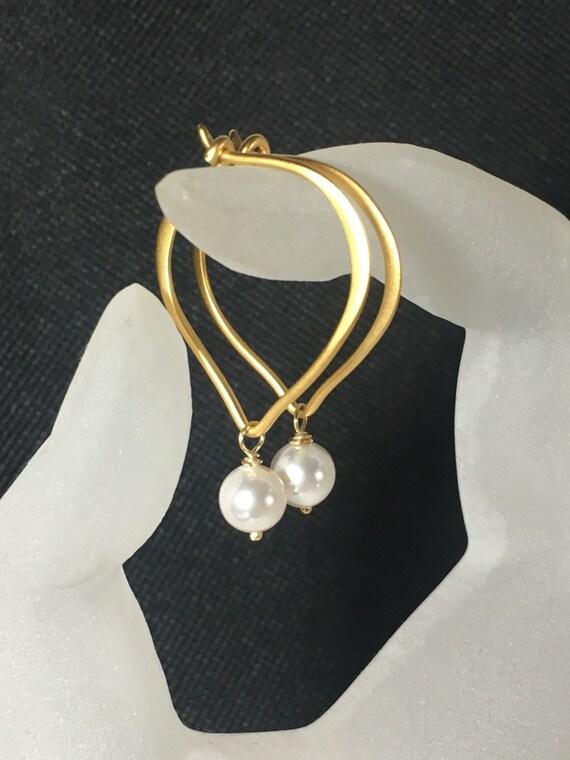 """Pearl Earrings, Gold Vermeil Lotus Hoop Ear Wires, Length 1"""", Gifts for Her, Bridal Earrings, Swarovski Crystal Pearls"""