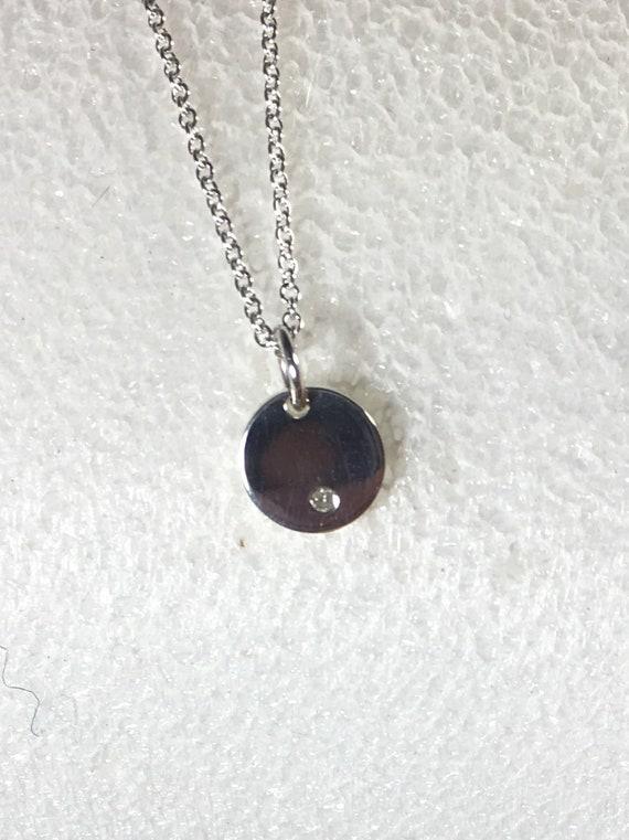 Silver Disc Diamond Necklace, Sterling Silver Tiny Disc Necklace, Valentine Gift, Diamond Disc, April Birthstone, MiShelli