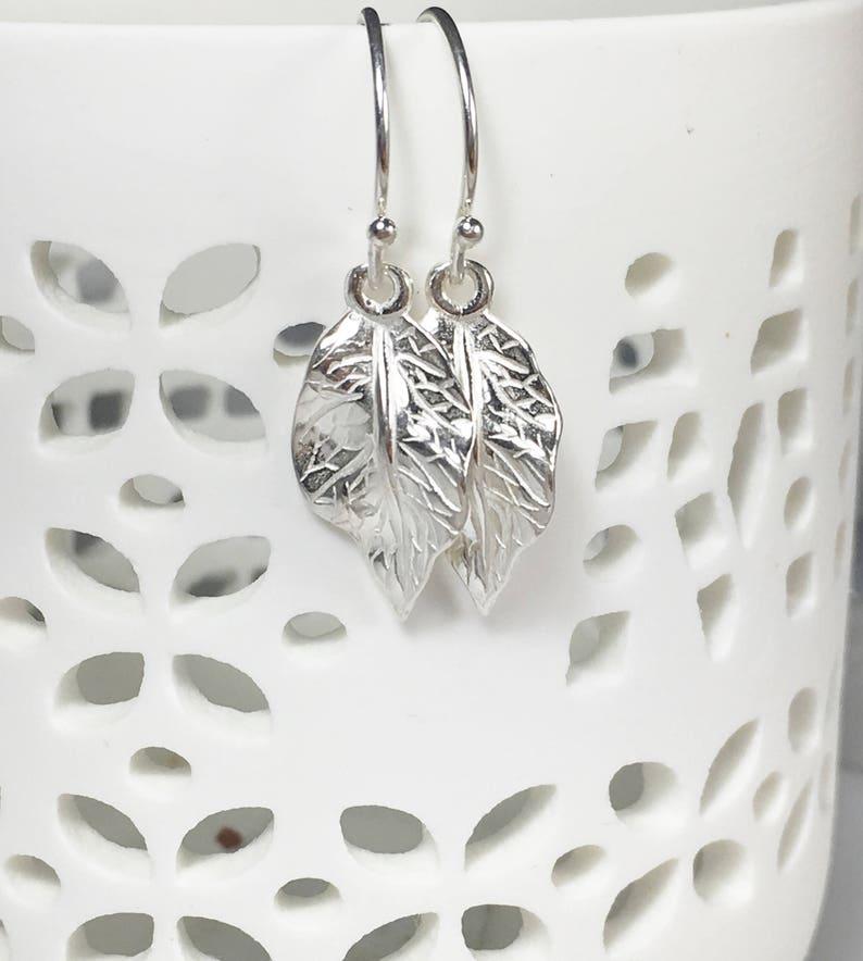 Tree Earrings Nature jewelry Silver Leaf Charm Drop Earrings Gifts for her Sterling Dangle Earrings