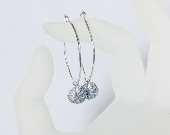 Featured listing image: Sand Dollar Hoop Earrings, Sterling Silver Ear Wires, Gifts for Her, Beach, Cruise, Vacation Jewelry, Charms
