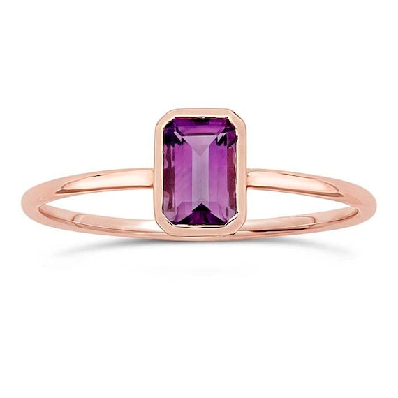 Amethyst Emerald Cut 14K Rose Gold Stacking Ring, February Birthstone