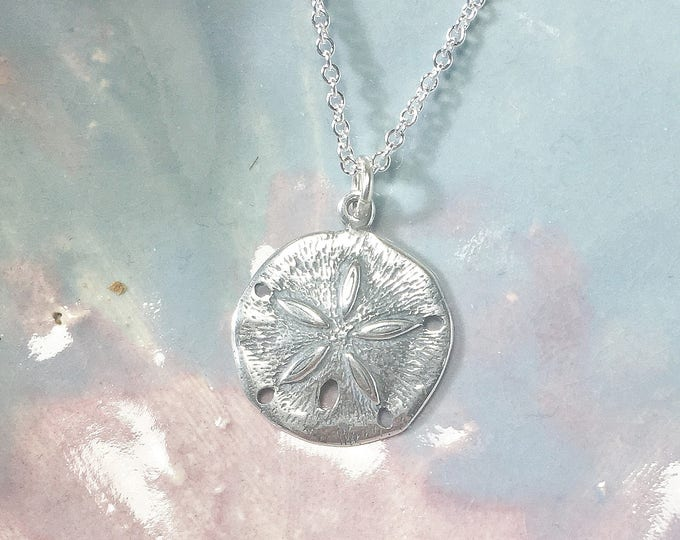 Featured listing image: Sterling Silver Sand Dollar Necklace .925 Pendant, Beach, Nautical, Gifts for Her