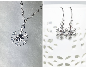 Snowflake Charm Sterling Silver Jewelry Gift Set