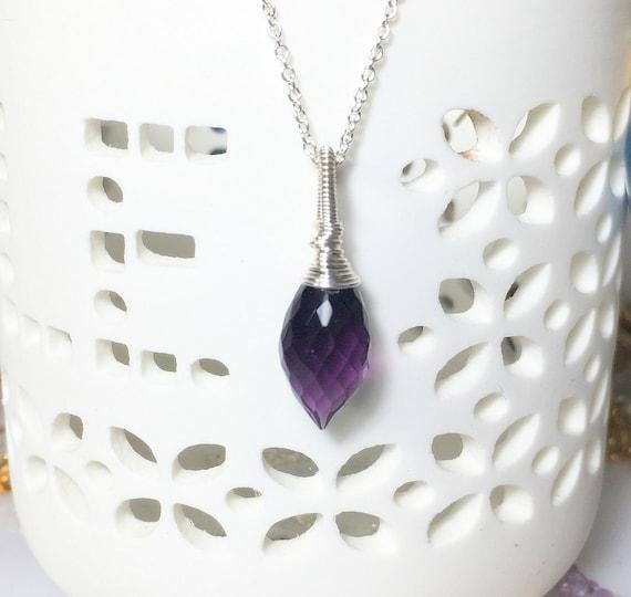"Amethyst Necklace, Sterling Silver Pendant, February Birthstone, Length 18"", Amethyst Gemstone Pendant Necklace"