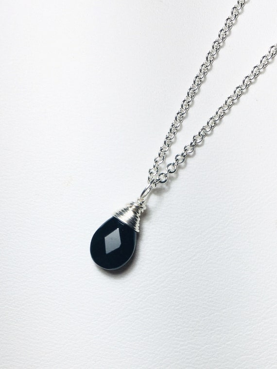 Black Spinel Solitaire Necklace, .925 Sterling, Dainty Wire Wrapped Briolette Pendant