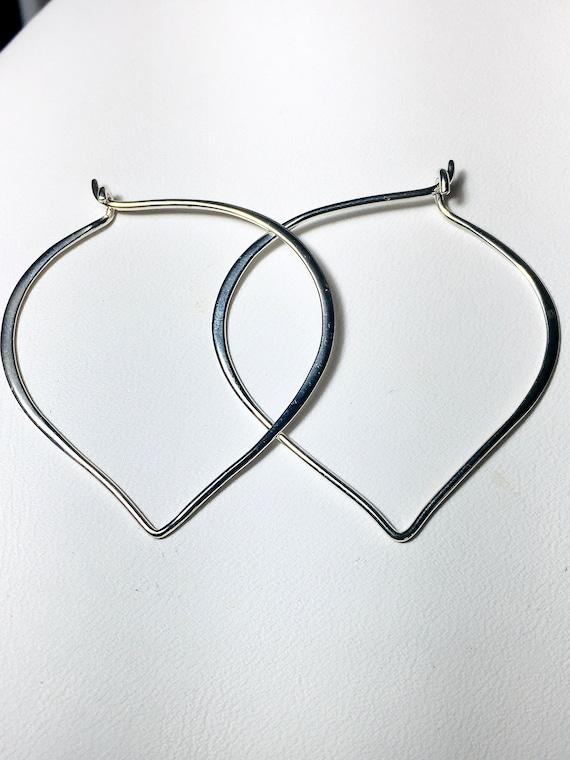 Large Sterling Silver Lotus Petal Hoop Ear Wires, Gifts for Her, .925 Silver Hoop Earrings, Heart Ear Wires, 41mm